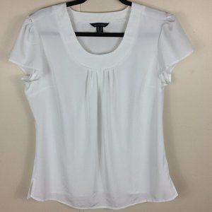 Lands' End White Short Sleeve Top Size 8 Petite